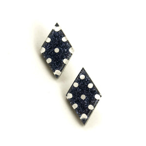 Black Dot Diamond Earrings - Cats Like Us