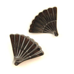 Black Vintage Fan Earrings