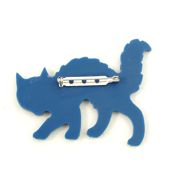 Blue Bakelite Scaredy Cat Pin - Cats Like Us