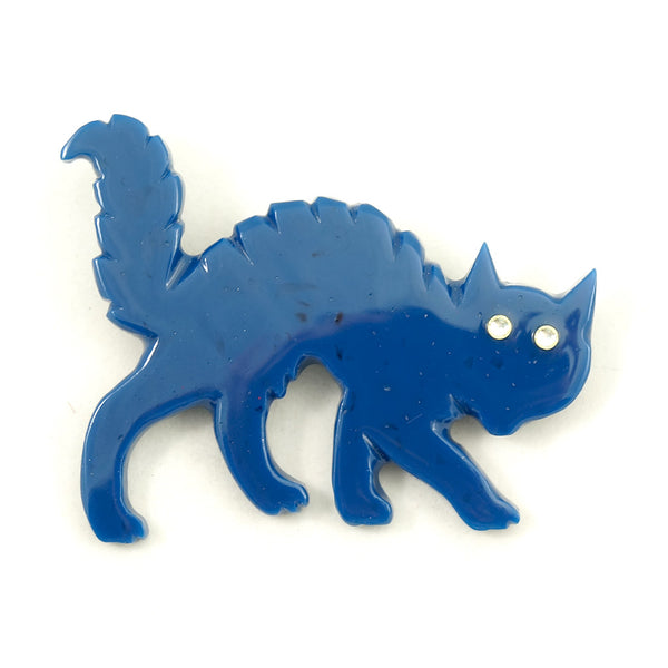 Blue Bakelite Scaredy Cat Pin