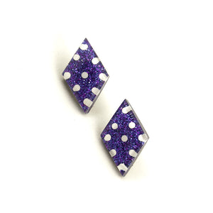 Grape Dot Diamond Earrings - Cats Like Us