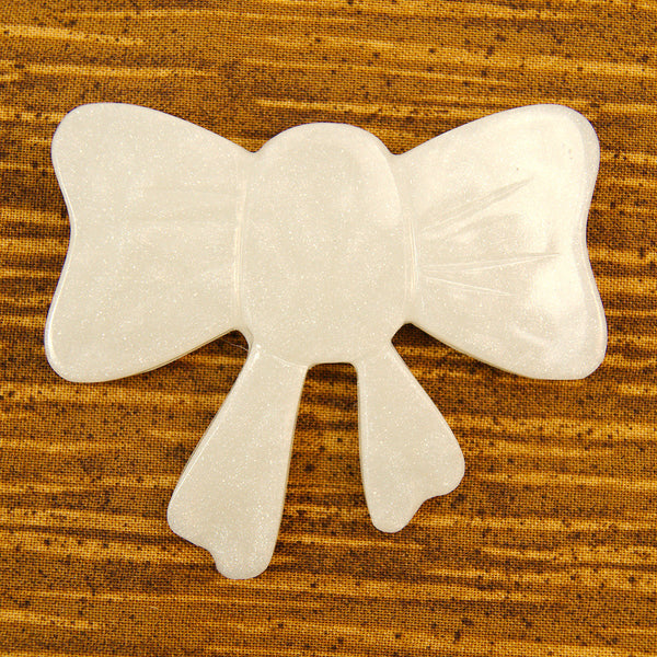 Match Accessories Pearl White Bow Brooch for sale at Cats Like Us - 1