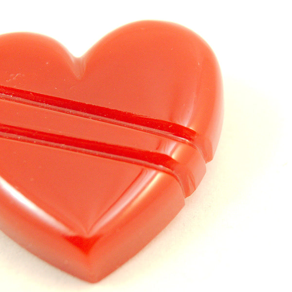 Match Accessories Red Carved Heart Vintage Brooch for sale at Cats Like Us - 3