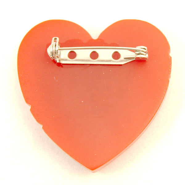 Match Accessories Red Carved Heart Vintage Brooch for sale at Cats Like Us - 2