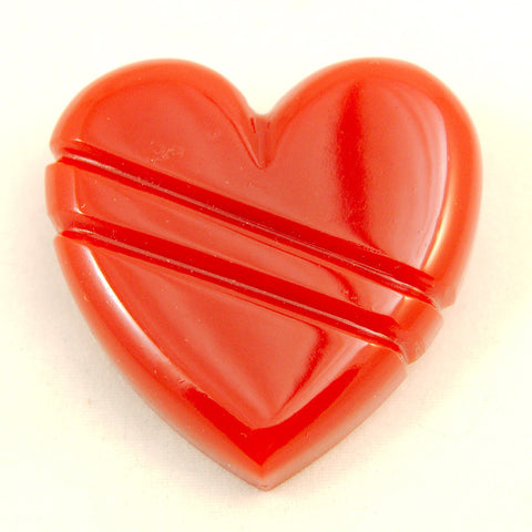Match Accessories Red Carved Heart Vintage Brooch for sale at Cats Like Us - 1