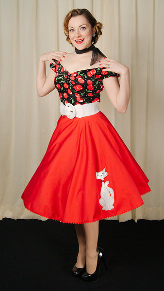 Red Kitty Proper Circle Skirt by Mode Merr : Cats Like Us