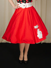 Red Kitty Proper Circle Skirt