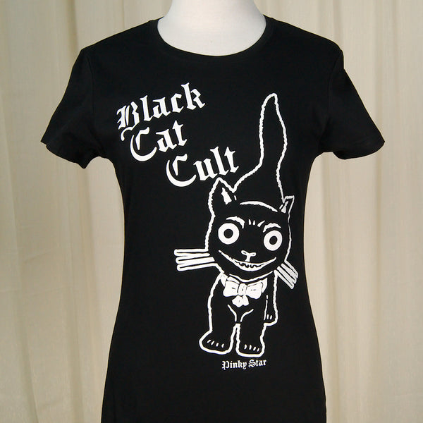 Black Cat Kitty Cult T Shirt