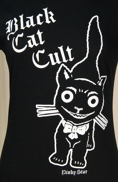 Black Cat Kitty Cult T Shirt - Cats Like Us