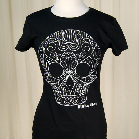 Dotted Sugar Skull T Shirt - Cats Like Us