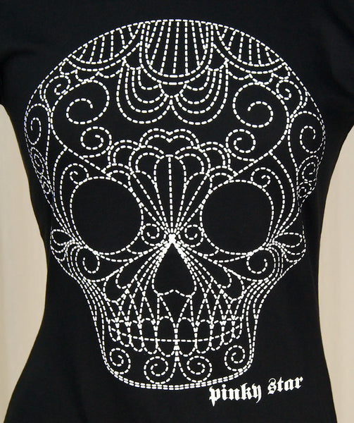 Dotted Sugar Skull T Shirt by Pinky Star : Cats Like Us