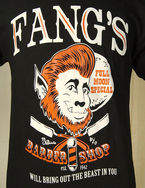 Fang's Barber Shop T Shirt by Pinky Star : Cats Like Us
