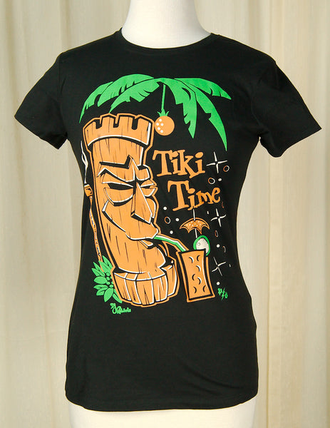 Pinky Star Tiki Drink Time T Shirt for sale at Cats Like Us - 1