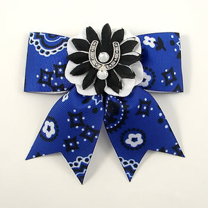 Blue Horseshoe Hair Bow - Cats Like Us