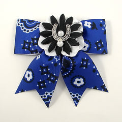 Blue Horseshoe Hair Bow