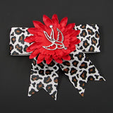 Punk Up Bettie Silver Swallow Red Daisy Bow for sale at Cats Like Us - 2