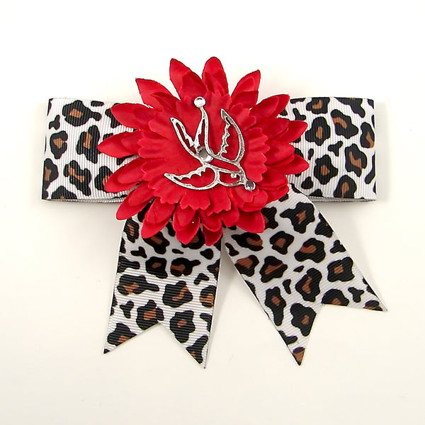 Punk Up Bettie Silver Swallow Red Daisy Bow for sale at Cats Like Us - 1