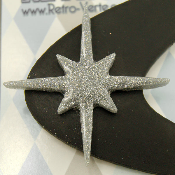 Black Atomic Starburst Brooch by Retro-Verte - Cats Like Us