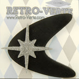 Retro-Verte Black Atomic Starburst Brooch