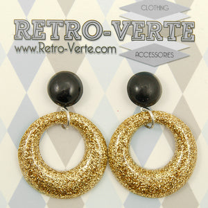Gold Drop Hoop Earrings by Retro-Verte : Cats Like Us