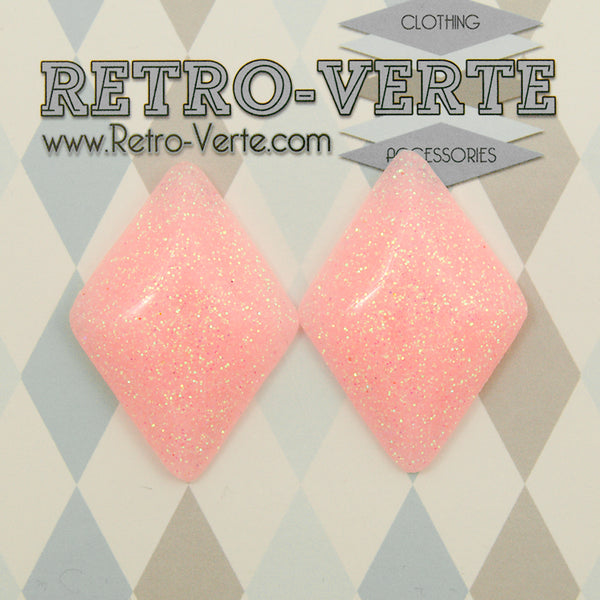 Pale Pink Diamond Earrings by Retro-Verte : Cats Like Us