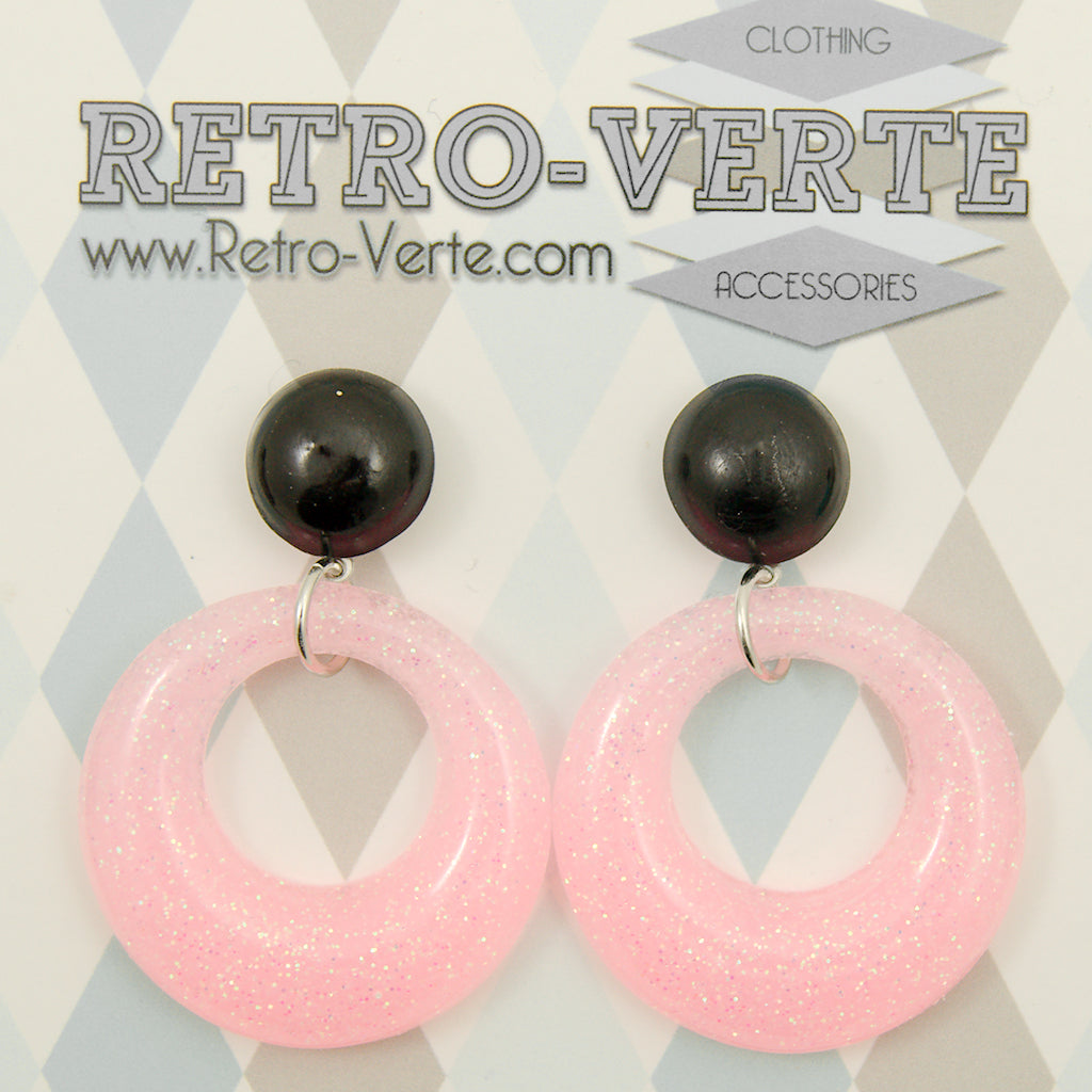 Pale Pink Drop Hoop Earrings by Retro-Verte : Cats Like Us