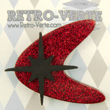 Retro-Verte Red Atomic Starburst Brooch