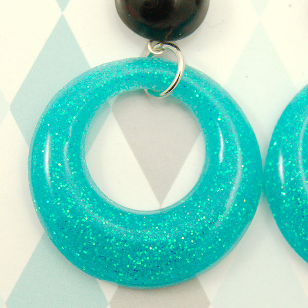 Seafoam Drop Hoop Earrings by Retro-Verte : Cats Like Us