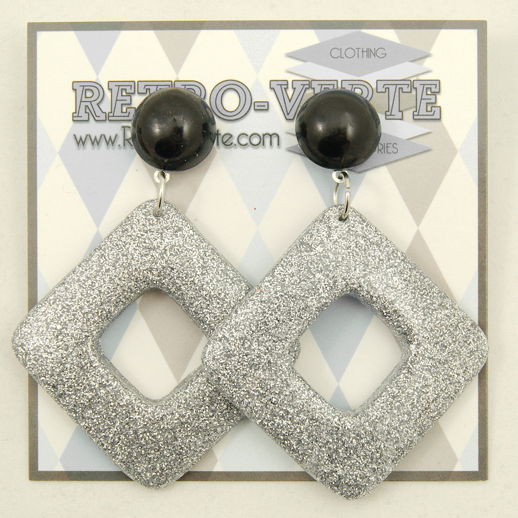 Silver Diamond Dangle Earrings by Retro-Verte : Cats Like Us