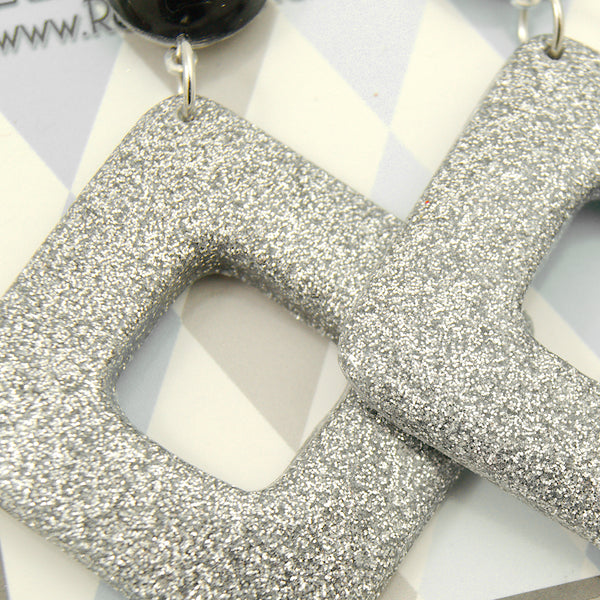 Silver Diamond Dangle Earrings - Cats Like Us