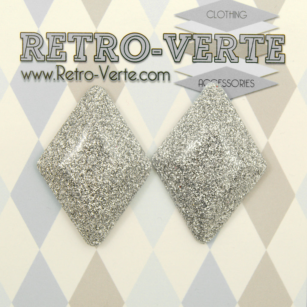 Silver Diamond Earrings by Retro-Verte : Cats Like Us