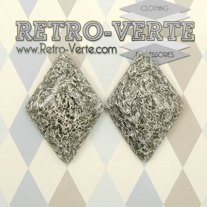 Silver Holo Diamond Earrings by Retro-Verte : Cats Like Us