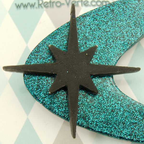 Teal Atomic Starburst Brooch - Cats Like Us