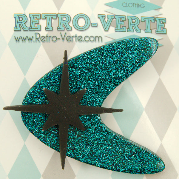 Teal Atomic Starburst Brooch by Retro-Verte : Cats Like Us