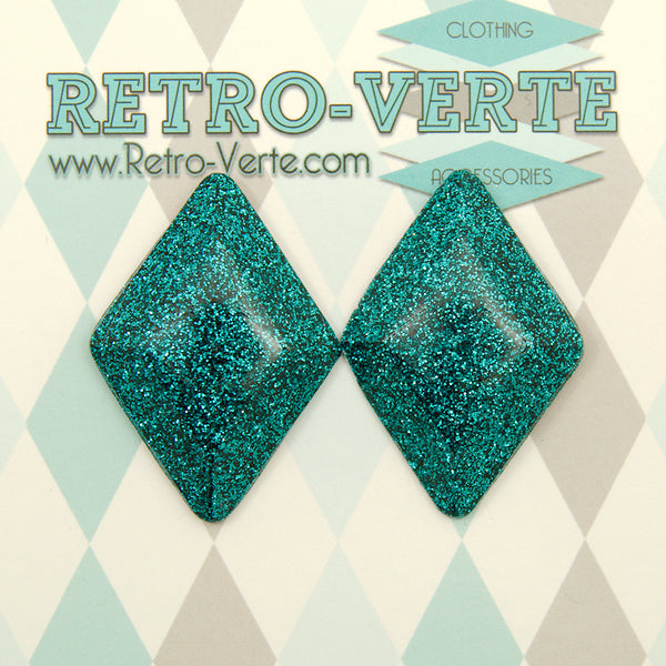 Teal Confetti Diamond Earrings by Retro-Verte : Cats Like Us