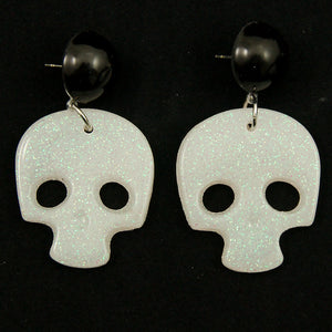 White Skull Confetti Earrings