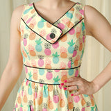Happy Pineapple Button Dress - Cats Like Us