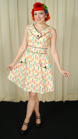 Happy Pineapple Button Dress by Retrolicious : Cats Like Us