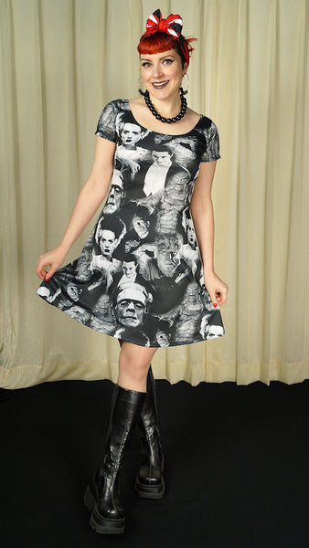 Monster Collage Skater Dress by Rock Rebel : Cats Like Us
