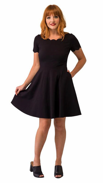 Black Heart Scallop Swing Dress by Smak Parlour : Cats Like Us