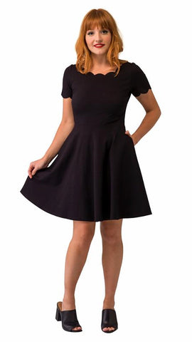 Black Heart Scallop Swing Dress