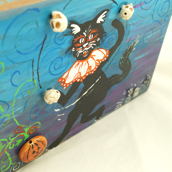 Dancing Graveyard Cat Box Purse
