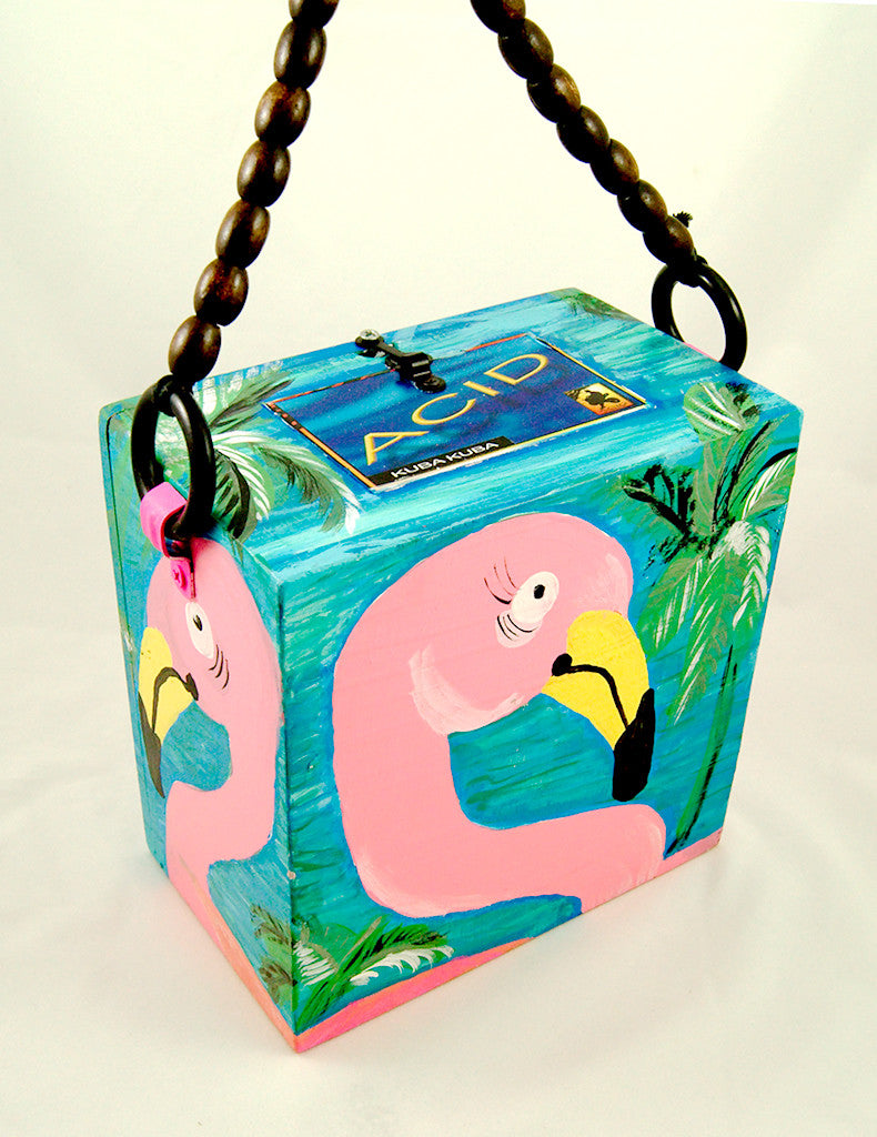 Smoking Hot Bags Flirty Flamingo Cigar Box Bag for sale at Cats Like Us - 1