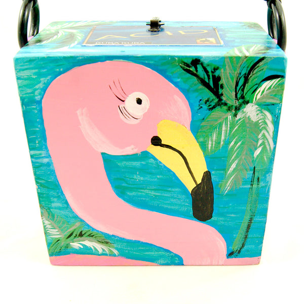 Smoking Hot Bags Flirty Flamingo Cigar Box Bag for sale at Cats Like Us - 2