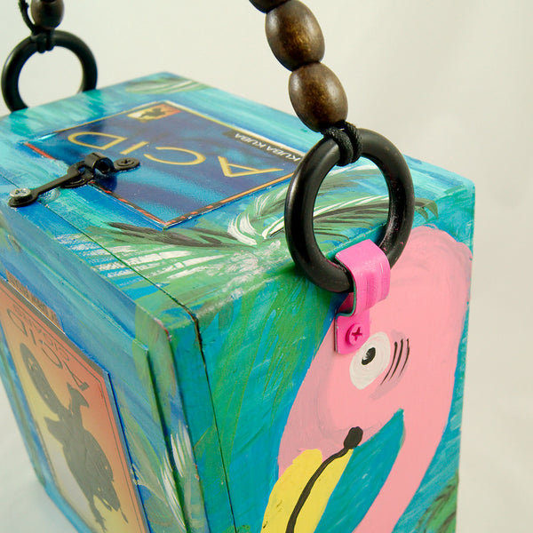 Smoking Hot Bags Flirty Flamingo Cigar Box Bag for sale at Cats Like Us - 8