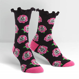 Cat Buds Flower Crew Socks by Sock It to Me : Cats Like Us