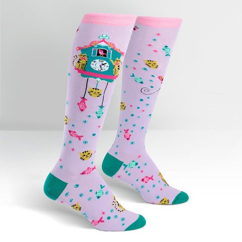 Cat O'Clock Cuckoo Knee Socks by Sock It to Me : Cats Like Us