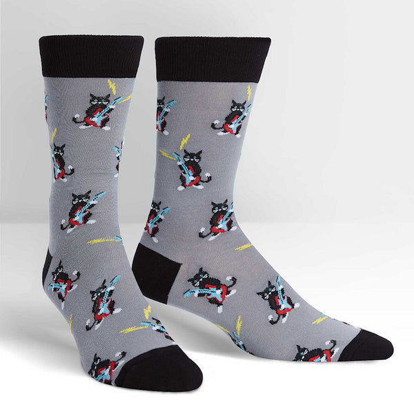 Mens Rock Paw-ty Crew Socks by Sock It to Me : Cats Like Us
