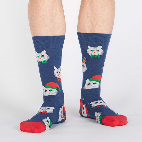 Mens Santa Claws Cat Crew Socks by Sock It to Me : Cats Like Us