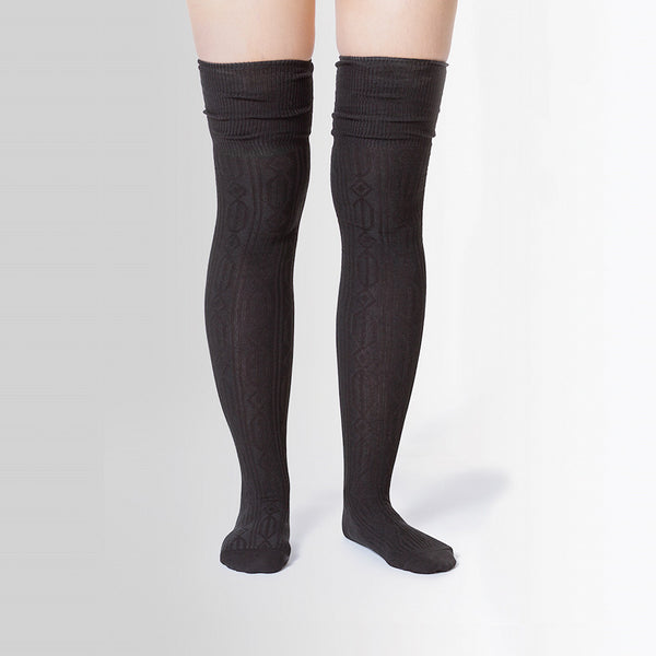 Over the Knee Cable Knit Socks by Sock It to Me : Cats Like Us